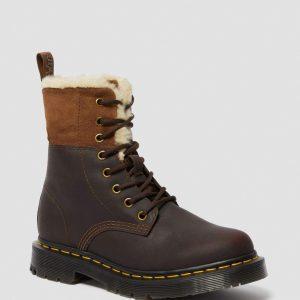 Dr. Martens 1460 Wintergrip Brown Snowplow Faux Fur 24014201 1 1