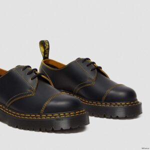 Dr. Martens 1461 Bex Double Stitch Black Yellow Smooth Slice 25951032 3 1