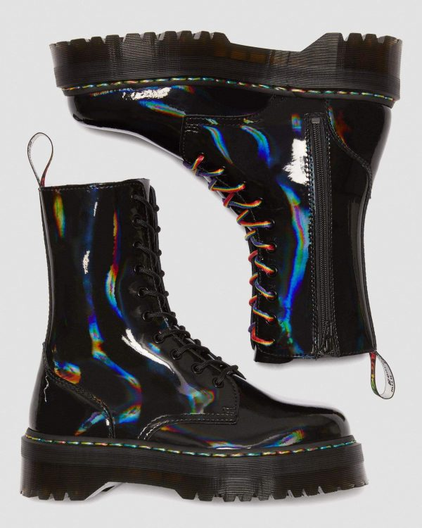 Dr. Martens Jadon Hi Black Rainbow Patent 24668001